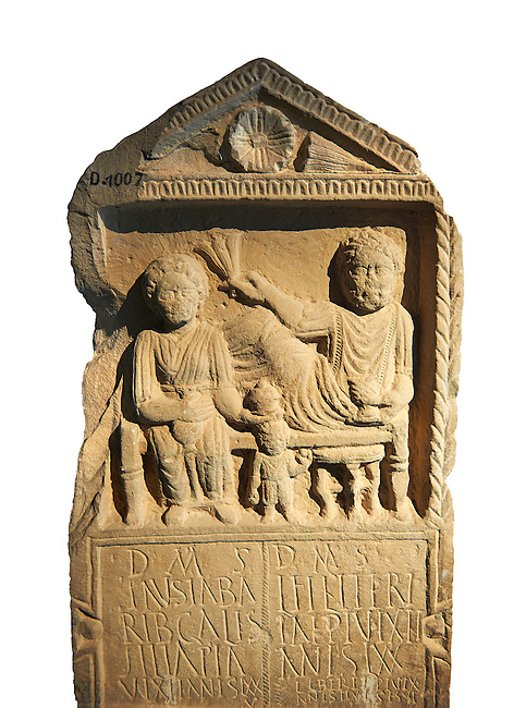 Second century Roman Christian funerary stele for 3 dead people from Africa Proconsularis. The stele depicts the deceased:  Fausata who died age 75, a man who died age 70 and a child who died age 2 years 6 months. From the first half of the second century AD from the region of Bou Arada in present day Tunisia. The Bardo National Museum, Tunis, Tunisia.  Against a white background.
