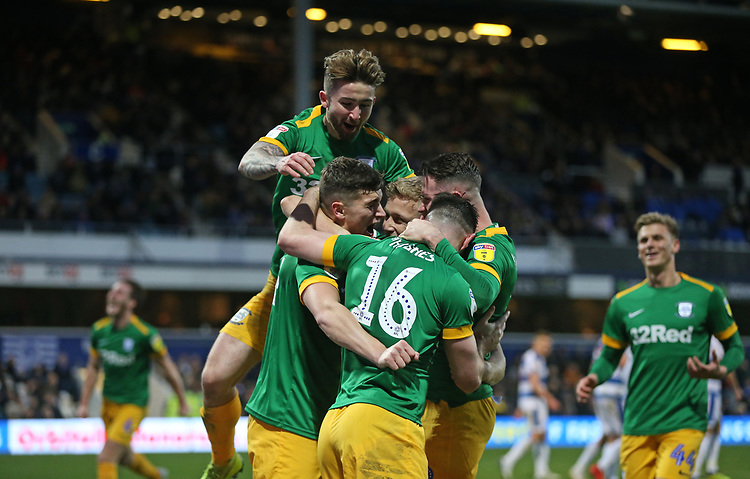 Preston North End's Jordan Storey celebrates scoring his side's second goal with his team mates<br /> <br /> Photographer Rob Newell/CameraSport<br /> <br /> The EFL Sky Bet Championship - Queens Park Rangers v Preston North End - Saturday 19 January 2019 - Loftus Road - London<br /> <br /> World Copyright © 2019 CameraSport. All rights reserved. 43 Linden Ave. Countesthorpe. Leicester. England. LE8 5PG - Tel: +44 (0) 116 277 4147 - admin@camerasport.com - www.camerasport.com