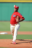 Clearwater Threshers pitcher Perci Garner (10) during a game against the Jupiter Hammerheads July 21, 2013 at Bright House Field in Clearwater, Florida.  Jupiter defeated Clearwater 1-0.  (Mike Janes/Four Seam Images)