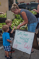 A mother sorts through pesticide free and non-GMO corn displayed at a farmers market.