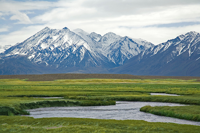 OWENS RIVER BEFORE THE SNOW-COVERED SIERRA NEVADA MOUNTAINS IN THE SPRING IN THE OWENS VALLEY, CALIFORNIA