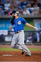 Biloxi Shuckers Patrick Leonard (20) at bat during a Southern League game against the Pensacola Blue Wahoos on May 3, 2019 at Admiral Fetterman Field in Pensacola, Florida.  Pensacola defeated Biloxi 10-8.  (Mike Janes/Four Seam Images)