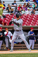 Clinton LumberKings outfielder Billy Cooke (2) at bat during a Midwest League game against the Wisconsin Timber Rattlers on April 26, 2018 at Fox Cities Stadium in Appleton, Wisconsin. Clinton defeated Wisconsin 7-3. (Brad Krause/Four Seam Images)