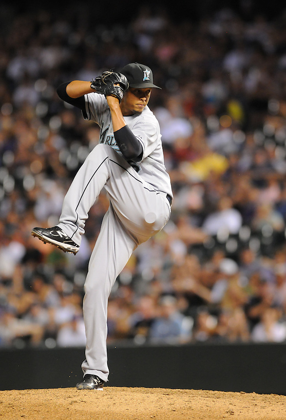 15 AUGUST 2011: Florida Marlins relief pitcher Leo Nunez (46)   during a regular season game between the Florida Marlins and the Colorado Rockies at Coors Field in Denver, Colorado. The Rockies beat the Marlins 7-4. *****For Editorial Use Only*****