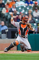 Sam Houston State Bearkats catcher Anthony Azar #20 throws the ball back to his pitcher during the game against the Texas Christian Horned Frogs at Minute Maid Park on February 28, 2014 in Houston, Texas.  The Bearkats defeated the Horned Frogs 9-4.  (Brian Westerholt/Four Seam Images)
