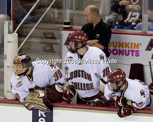 Chris Venti (Boston College - 30), Kyle Kucharski (Boston College - 18), John Hegarty (Boston College Director - Hockey Ops), Matt Price (Boston College - 25) - The Boston College Eagles defeated the University of Wisconsin Badgers 5-4 on Friday, October 10, 2008 after raising their 2008 National Championship banner at Kelley Rink in Conte Forum in Chestnut Hill, Massachusetts.