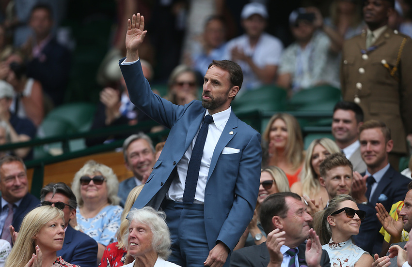 England manager Gareth Southgate is introduced to the Centre Court crowd<br /> <br /> Photographer Rob Newell/CameraSport<br /> <br /> Wimbledon Lawn Tennis Championships - Day 6 - Saturday 6th July 2019 -  All England Lawn Tennis and Croquet Club - Wimbledon - London - England<br /> <br /> World Copyright © 2019 CameraSport. All rights reserved. 43 Linden Ave. Countesthorpe. Leicester. England. LE8 5PG - Tel: +44 (0) 116 277 4147 - admin@camerasport.com - www.camerasport.com