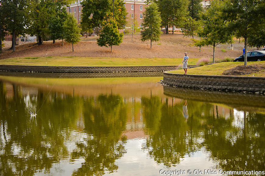 Ole Miss student Bo Verdin tries his luck fishing at Silver Pond. Photo by Robert Jordan/Ole Miss Communications