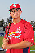 Batavia Muckdogs first baseman Victor Sanchez poses for a photo in a Cardinals uniform before a game vs. the State College Spikes at Dwyer Stadium in Batavia, New York July 17, 2010.   Batavia defeated State College 12-11 in 11 innings.  Photo By Mike Janes/Four Seam Images