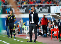 24.02.2012. Mallorca, Spain. La Liga Picture show Pep Guardiolai in action during match between Real Mallorca against FC Barcelona at Iberostar Estadi