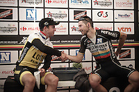 race winner Dylan Groenewegen (NLD/LottoNL-Jumbo) post-race & 3rd placed Aidis Kruopis (LTU/WillemsVerandas) shaking hands after the race in the media-tent<br /> <br /> Heistse Pijl 2016
