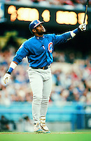 Sammy Sosa of the Chicago Cubs bats during a 1999 Major League Baseball season game against the Los Angeles Dodgers in Los Angeles, California. (Larry Goren/Four Seam Images)