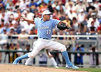 North Carolina's Patrick Johnson delivers the first pitch of the 2011 College World Series to open the brand-new TD Ameritrade Park Omaha. Vanderbilt won 7-3. (Photo by Michelle Bishop)..