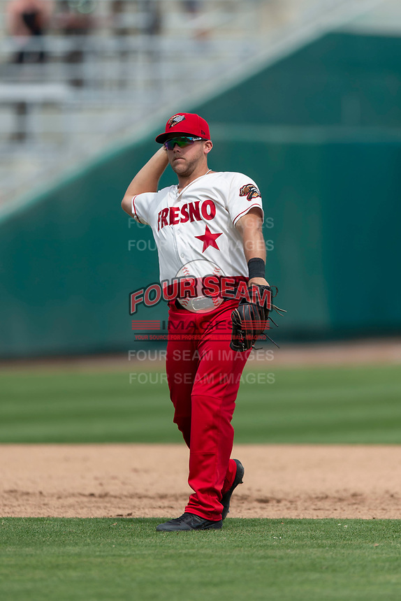 Fresno Grizzlies second baseman Jacob Wilson (4) during a game against the Reno Aces at Chukchansi Park on April 8, 2019 in Fresno, California. Fresno defeated Reno 7-6. (Zachary Lucy/Four Seam Images)