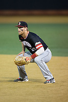 Davidson Wildcats first baseman Brian Fortier (28) on defense against the Wake Forest Demon Deacons at David F. Couch Ballpark on February 28, 2017 in Winston-Salem, North Carolina.  The Demon Deacons defeated the Wildcats 13-5.  (Brian Westerholt/Four Seam Images)