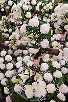 Mexico, Mexico City. Day of the Dead, Dia de los Muertos. Plaza Jamaica market. Flowers for sale.