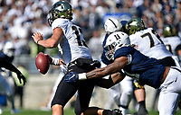 UNIVERSITY PARK, PA - OCTOBER 05: Purdue QB Jack Plummer (13) is sacked by Penn State LB Micah Parsons (11) during the Purdue Boilermakers vs. Penn State Nittany Lions game October 5, 2019 at Beaver Stadium in University Park, PA. (Photo by Randy Litzinger/Icon Sportswire)