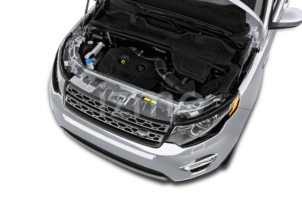 Car Stock 2016 Land Rover Discovery Sport HSE Luxury 5 Door Suv Engine  high angle detail view