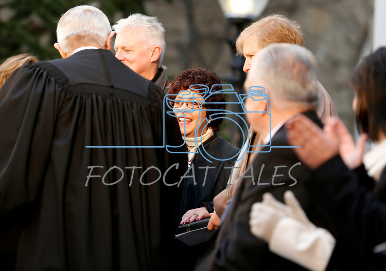 Nevada Supreme Court Chief Justice James Hardesty congratulates Justice Elissa Cadish, center, after she is sworn in during the inauguration at the Capitol, in Carson City, Nev., on Monday, Jan. 7, 2019. (Cathleen Allison/Las Vegas Review-Journal)
