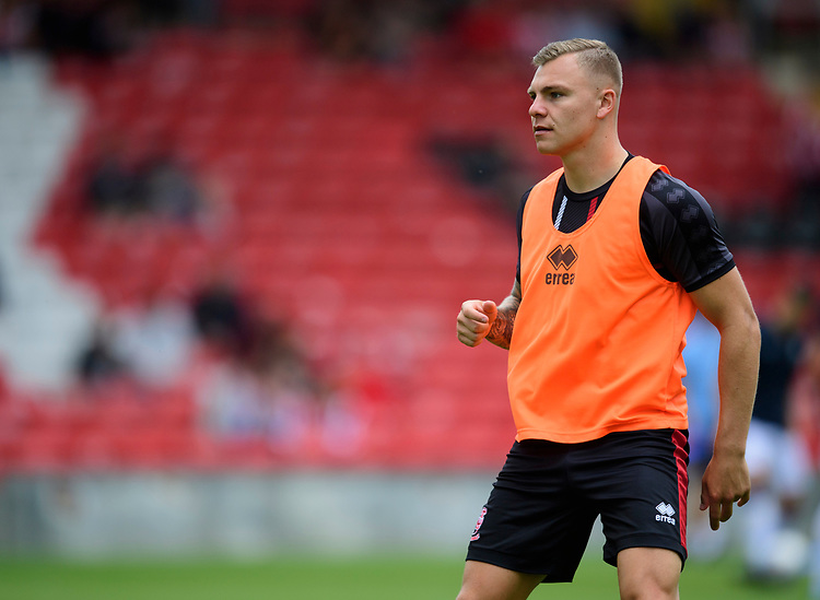 Lincoln City's Harry Anderson during the pre-match warm-up<br /> <br /> Photographer Chris Vaughan/CameraSport<br /> <br /> Football Pre-Season Friendly - Lincoln City v Sheffield Wednesday - Saturday July 13th 2019 - Sincil Bank - Lincoln<br /> <br /> World Copyright © 2019 CameraSport. All rights reserved. 43 Linden Ave. Countesthorpe. Leicester. England. LE8 5PG - Tel: +44 (0) 116 277 4147 - admin@camerasport.com - www.camerasport.com