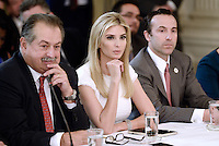 Ivanka Trump is flanked by Andrew Liveris (L) ,Chairman and Chief Executive Officer of The Dow Chemical Company and Reed Cordish (R) , the assistant to the President for intragovernmental and technology initiatives during a  listening session with manufacturing CEOs  in the State Dining Room  of the White House on February 23, 2017 in Washington, DC. Photo Credit: Olivier Douliery/CNP/AdMedia