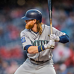 23 May 2017: Seattle Mariners outfielder Ben Gamel at bat in the first inning against the Washington Nationals on a rainy day at Nationals Park in Washington, DC. The Nationals defeated the Mariners 10-1 to take the first game of their inter-league series. Mandatory Credit: Ed Wolfstein Photo *** RAW (NEF) Image File Available ***