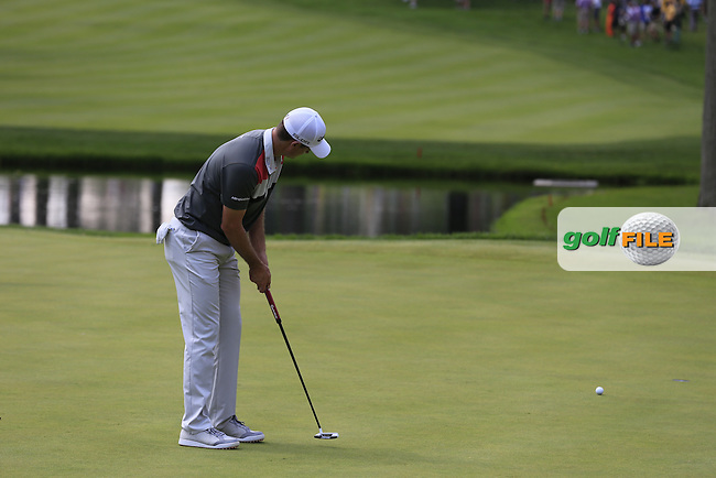 Justin Rose (ENG) putts on the 3rd green during Saturday's Round 3 of the 2013 Bridgestone Invitational WGC tournament held at the Firestone Country Club, Akron, Ohio. 3rd August 2013.<br /> Picture: Eoin Clarke www.golffile.ie