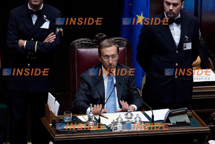 COMUNICAZIONI ALLA CAMERA DEI DEPUTATI DEL PRESIDENTE DEL CONSIGLIO PER IL VOTO DI FIDUCIA.NELLA FOTO IL PRESIDENTE DELLA CAMERA GIANFRANCO FINI.ROMA 13 OTTOBRE  2011.PHOTO  SERENA CREMASCHI INSIDEFOTO...............