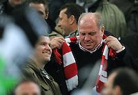FUSSBALL   1. BUNDESLIGA  SAISON 2011/2012   18.  Spieltag   20.01.2012 Borussia Moenchengladbach   - FC Bayern Muenchen  Praesident Uli Hoeness (FC Bayern Muenchen),