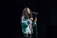 First-year Tyler Ivy '20 sang a cappella to a full audience at Thorne Hall.<br /> Occidental College students perform and compete during Apollo Night, one of Oxy's biggest talent showcases, on Feb. 24, 2017 in Thorne Hall. Sponsored by ASOC and hosted by the Black Student Alliance as part of Black History Month.<br /> (Photo by Marc Campos, Occidental College Photographer)