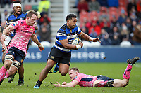 Cooper Vuna of Bath Rugby goes on the attack. Anglo-Welsh Cup Final, between Bath Rugby and Exeter Chiefs on March 30, 2018 at Kingsholm Stadium in Gloucester, England. Photo by: Matt Impey / Wired Photos for Onside Images