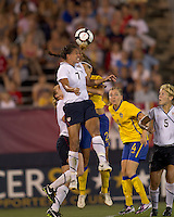US midfielder Shannon Boxx (7) battle for head ball. The US Women's national team beat Sweden, 3-0, at Rentschler Field on July 17, 2010.