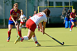 Mannheim, Germany, April 18: During the 1. Bundesliga Damen match between TSV Mannheim (white) and Mannheimer HC (red) on April 18, 2015 at TSV Mannheim in Mannheim, Germany. Final score 1-7 (1-4). (Photo by Dirk Markgraf / www.265-images.com) *** Local caption *** Lea Goerdt #27 of TSV Mannheim