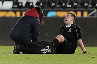 Pictured: Match referee injured on the ground. Tuesday 01 May 2018<br /> Re: Swansea U19 v Cardiff U19 FAW Youth Cup Final at the Liberty Stadium, Swansea, Wales, UK