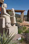 """Shared Knowledge"" limestone sculpture (1986) by Doug Hyde (Nez Pierce/Assiniboin/Chippewa) in front of the Museum of Indian Arts and Culture on Museum Hill, Santa Fe, New Mexico"
