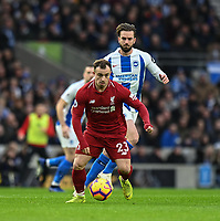 Liverpool's Xherdan Shaqiri (left) under pressure from Brighton & Hove Albion's Davy Propper (right) <br /> <br /> Photographer David Horton/CameraSport<br /> <br /> The Premier League - Brighton and Hove Albion v Liverpool - Saturday 12th January 2019 - The Amex Stadium - Brighton<br /> <br /> World Copyright © 2018 CameraSport. All rights reserved. 43 Linden Ave. Countesthorpe. Leicester. England. LE8 5PG - Tel: +44 (0) 116 277 4147 - admin@camerasport.com - www.camerasport.com