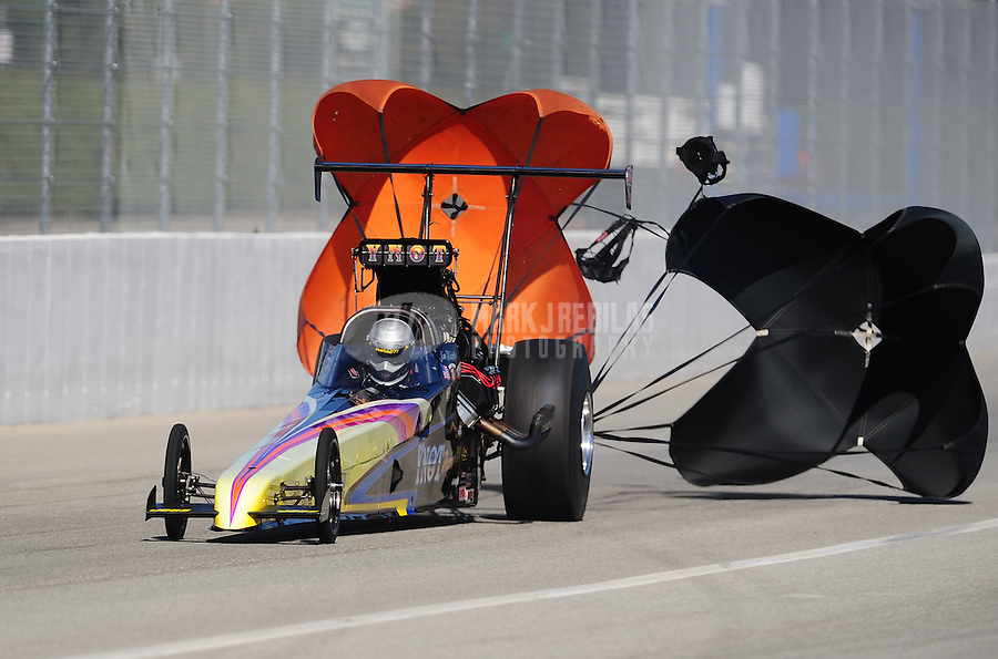 Nov 12, 2010; Pomona, CA, USA; NHRA top alcohol dragster driver Jim Whiteley during qualifying for the Auto Club Finals at Auto Club Raceway at Pomona. Mandatory Credit: Mark J. Rebilas-