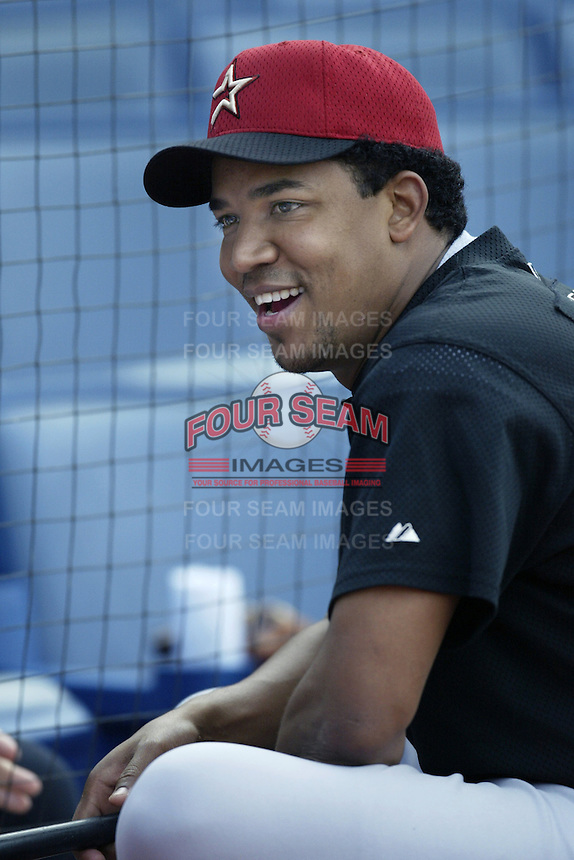 Octavio Dotel of the Houston Astros before a 2002 MLB season game against the Los Angeles Dodgers at Dodger Stadium, in Los Angeles, California. (Larry Goren/Four Seam Images)
