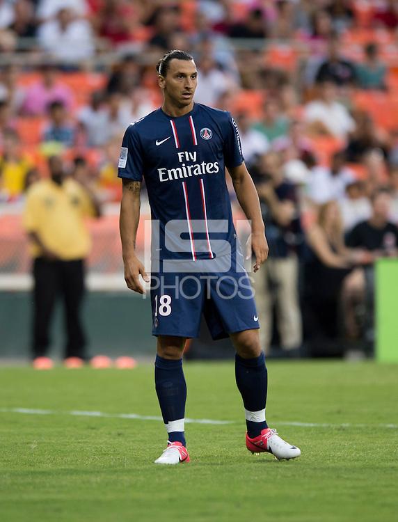 Zlatan Ibrahimovic (18) of Paris Saint-Germain FC looks for a cross during the game at RFK Stadium in Washington, DC.  Paris Saint-Germain FC tied D.C. United, 1-1.