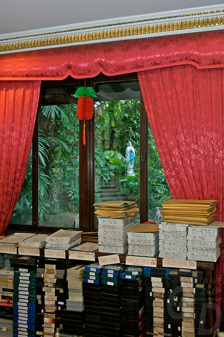 Imelda Marcos, documentation of court cases, in her House in San Juan Manila