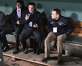 Paul Pearl (HC - Head Coach) is interviewed in the visitor's dugout. - The Bentley University Falcons defeated the College of the Holy Cross Crusaders 3-2 on Saturday, December 28, 2013, at Fenway Park in Boston, Massachusetts.