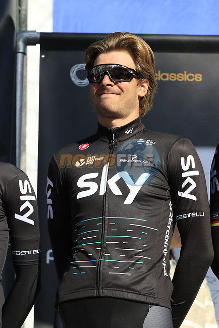 Jonathan Dibben (GBR) Team Sky on stage at sign on before the start of Gent-Wevelgem in Flanders Fields 2017, running 249km from Denieze to Wevelgem, Flanders, Belgium. 26th March 2017.<br /> Picture: Eoin Clarke | Cyclefile<br /> <br /> <br /> All photos usage must carry mandatory copyright credit (&copy; Cyclefile | Eoin Clarke)