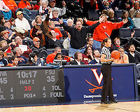Virginia Cavaliers fans react to a call from the referee during the game against Florida State Jan. 29, 2012 in Charlottesville, Va.  Virginia defeated Florida State 62-52.