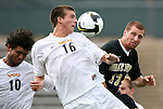 22 August 2008: VCU's Evan Slusser (16), Wake Forest's Cody Arnoux (17), and VCU's Gerson Dos Santos (BRA) (10) all challenge for the ball. The Wake Forest University Demon Deacons defeated the Virginia Commonwealth University Rams 2-1 at Fetzer Field in Chapel Hill, North Carolina in an NCAA Division I Men's college soccer game.