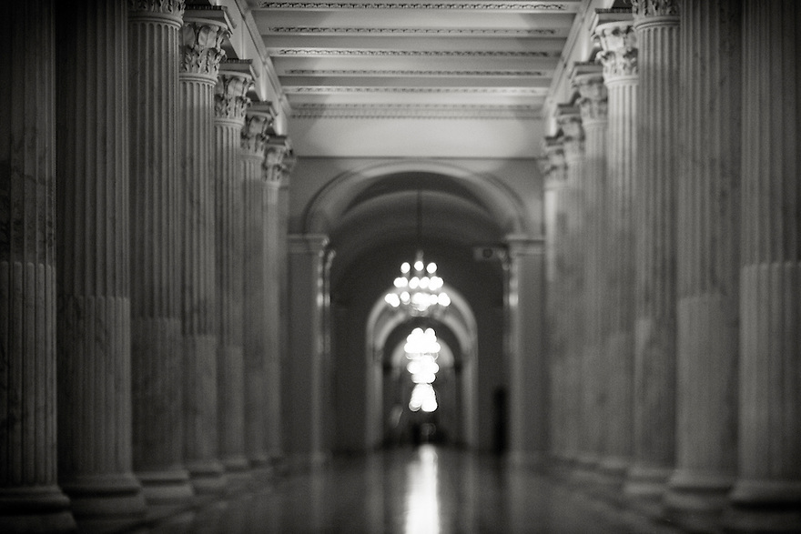 Empty halls of the United States Capitol at night  in Washington.