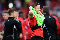 Lincoln City's Shay McCartan during the pre-match warm-up<br /> <br /> Photographer Chris Vaughan/CameraSport<br /> <br /> The EFL Checkatrade Trophy Group H - Lincoln City v Mansfield Town - Tuesday September 4th 2018 - Sincil Bank - Lincoln<br />  <br /> World Copyright © 2018 CameraSport. All rights reserved. 43 Linden Ave. Countesthorpe. Leicester. England. LE8 5PG - Tel: +44 (0) 116 277 4147 - admin@camerasport.com - www.camerasport.com