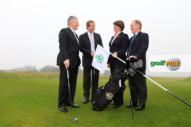 European Tour CEO George O'Grady (Centre), Arleen Foster Enterprise, Trade and Investment Minister, Rt. Hon. Peter robinson First Minister MLA  Dr. Peter Brown captain and at the Irish Open 2015 announcement, Royal County Down Golf Club, Newcastle, Down,Ireland.<br /> Picture: Fran Caffrey www.golffile.ie