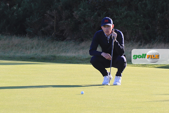 Euan Walker (GB&I) on the 2nd green during Day 2 Foursomes of the Walker Cup, Royal Liverpool Golf CLub, Hoylake, Cheshire, England. 08/09/2019.<br /> Picture Thos Caffrey / Golffile.ie<br /> <br /> All photo usage must carry mandatory copyright credit (© Golffile   Thos Caffrey)