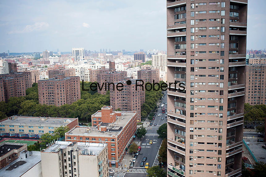 Schomburg Plaza, right,  apartment buildings in the Harlem neighborhood in New York seen on Saturday, October 6, 2012.  (© Richard B. Levine)