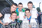 Pictured after getting their Junior Cert results on Wednesday at Mercy Mounthawk, Tralee were Micheal Maher, Conor Nolan, Tom O'Hara, PJ Galvin and Ciaran O'Connor.